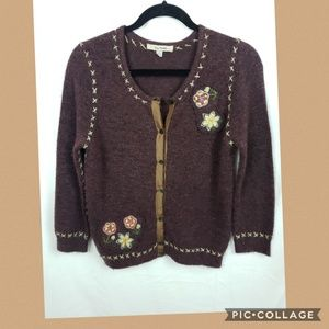 Free People Purple Embroidery Button up Cardigan M